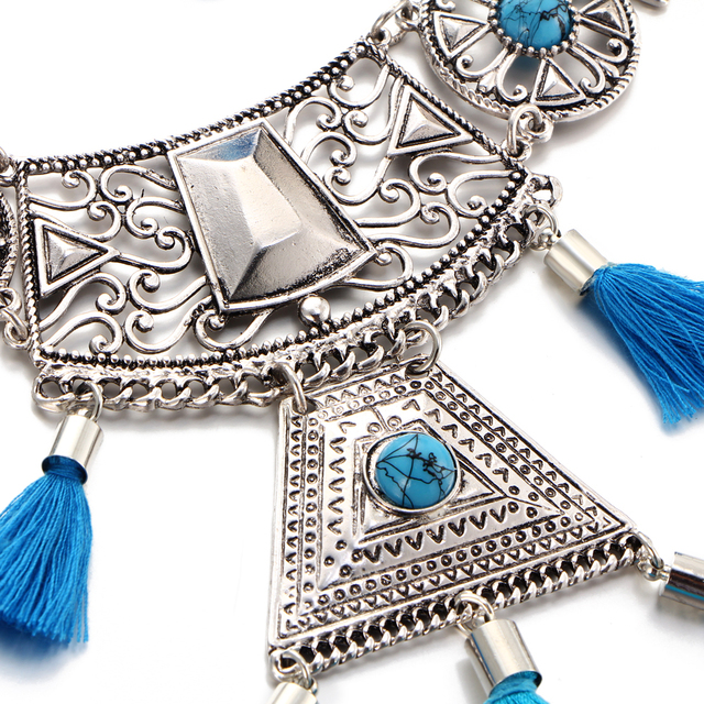 17KM Geometric Tassel Necklace Jewelry Sets For Woman Bohemian Earings Bijoux Female Hollow Flower Necklaces Statement Jewelry