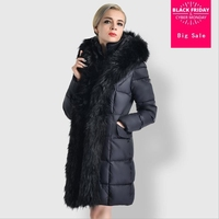 2018 Winter Fashion high end Women Jacket Female down cotton Padded Coats Long Fur Collar Coat warm big size Thick Parkas L1092