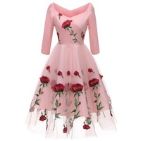 Women Rose Embroidery Lace Tulle Dress Diamond Neck Elegant Vintage Dress 3/4 Sleeves Flare Formal Party Dresses