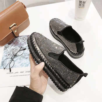 2020 brand European fashion Espadrilles Shoes Woman leather creepers flats ladies loafers crystal loafers g361