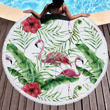 Urijk Summer Flamingo Beach Towel Leaf Round With Tassel Round Tapestry Picnic Bohemia Mats Throw Rug Yoga Mat(China)