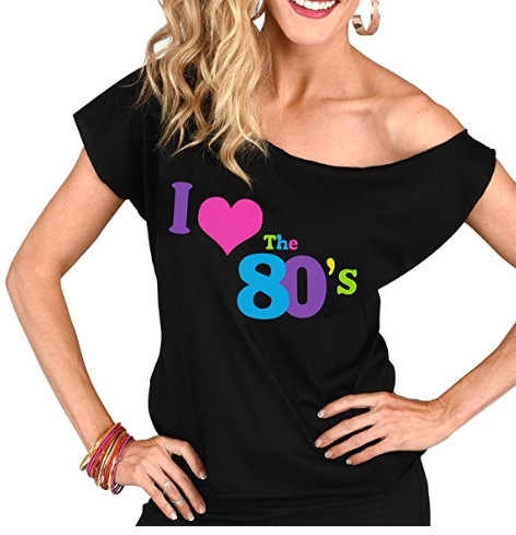 1980's  Neon green  pink black Women's I Love The 80's T-Shirt 80's Party accessories S-3XL PLUS SIZE tshirt blouse