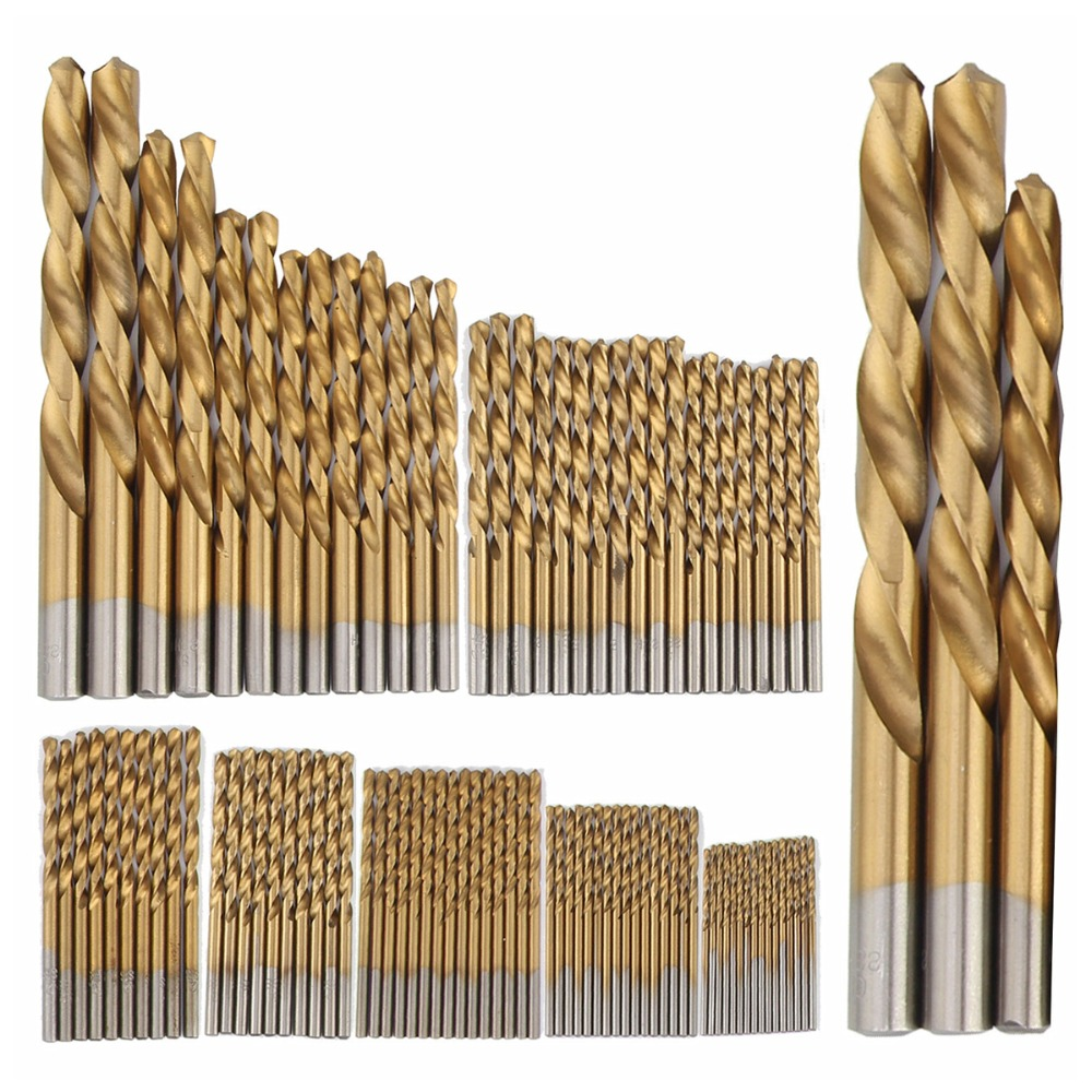 99pcs Manual Twist Titanium Coated High Speed Steel Drill Bits Set HSS4241 Hand Tool 1.5mm-10mm Drilling Tools Kit hand twist drill 20pcs micro high speed steel bits jewelers sliding drilling spiral tool drill bit watch repair tools