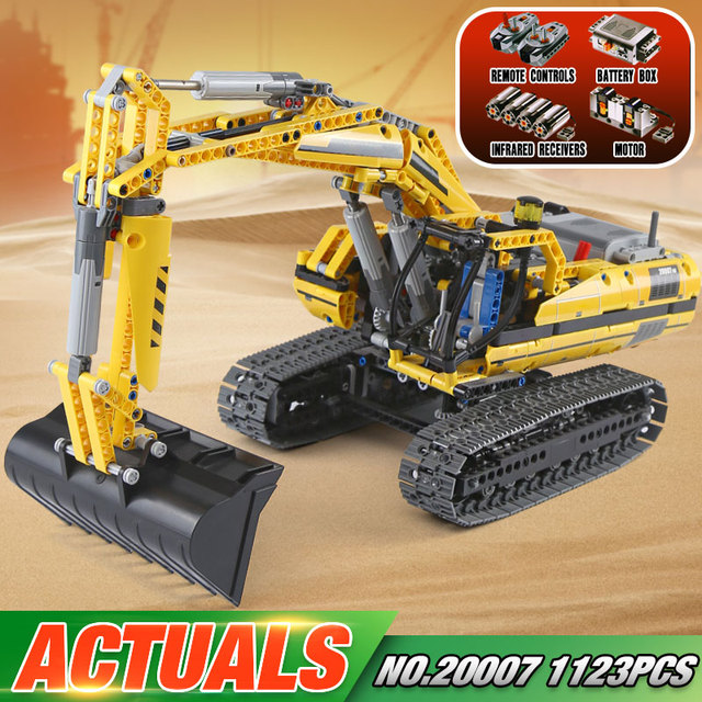 New DHL 20007 technic series 1123pcs excavator Model Building blocks Bricks Compatible Toy Christmas Gift 8043 Educational Car