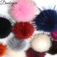 DANKEYISI ขายส่ง 5 ชิ้น 100% จริง Pompoms 17 เซนติเมตร DIY Raccoon ฟ็อกซ์ขนสัตว์ Pom Poms ลูกขนสำหรับหมวกหมวกผ้าพันคอรองเท้าอุปกรณ์เสริม