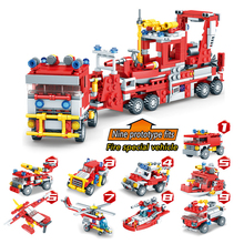 Fire 9 in 1 Building block compatible with urban blocks Legoings children's model Combat toy traffic Truck car helicopter ship все цены