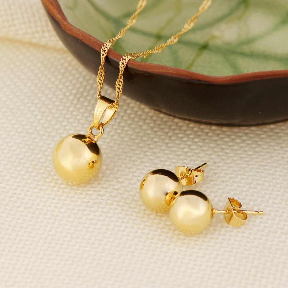 Ball Round Pendant Necklace Ball Round Earrings Jewelry 24K Gold Women Best Party Fine Jewelry
