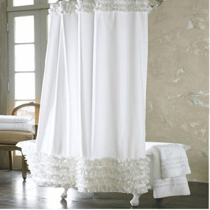 YL12 Home Decor Bathroom Shower Curtain Waterproof White Lace Solid Polyester Fabric Bath Curtain Elegant Cortinas +12 Hooks