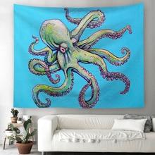 купить Tapestry Octopus Printing pattern Marine animal Tapestry Beach Throw Towel Yoga Rug Wall Hanging Gobelin Home Decor Art по цене 569.25 рублей