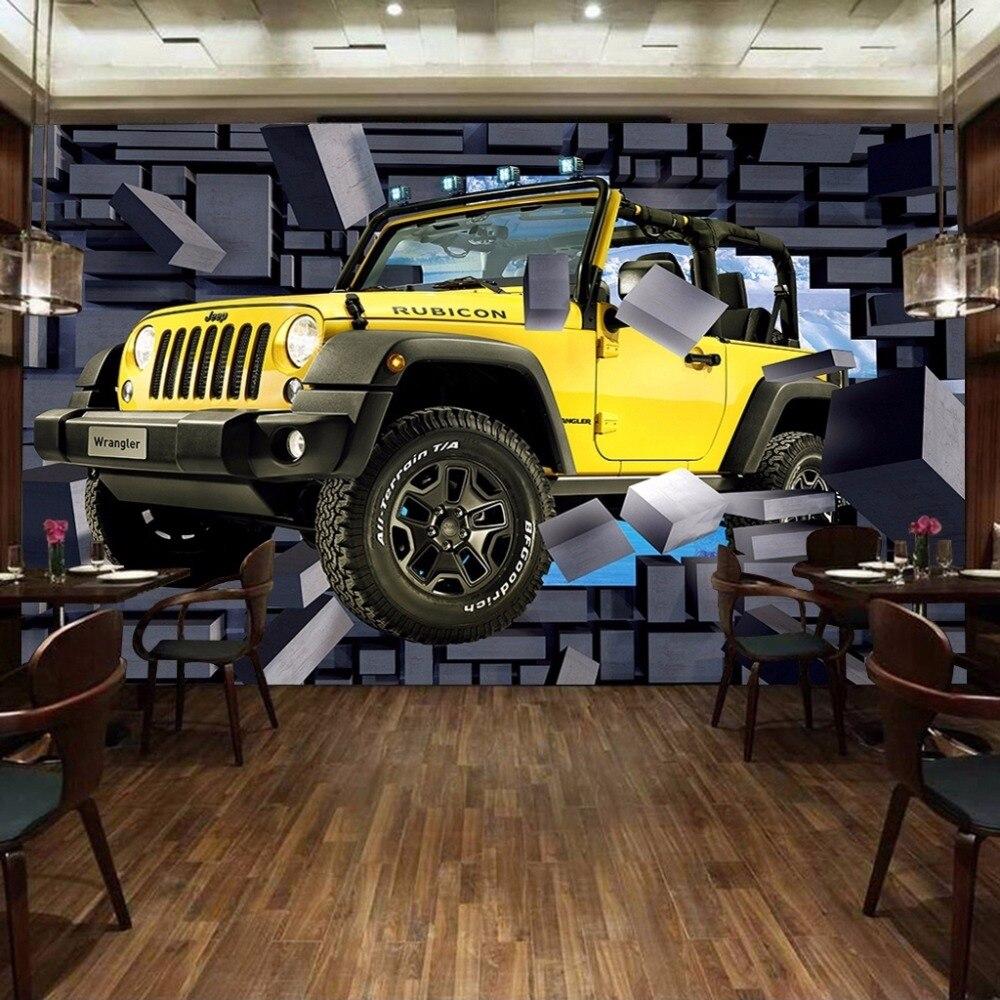 Custom Size 3D Car Through The Wall Wall Paintings Stereo Brick Wall Bar Restaurant Backdrop Decoration Painting Mural Wallpaper