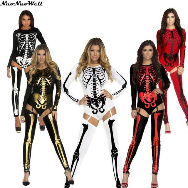 2aac8a27c63f4 US $22.42 39% OFF|Aliexpress.com : Buy Fashion Printed Bone Stage Uniform  Halloween Masquerade Sexy Women Skeleton Costume Hot Skeleton Bodysuit with  ...
