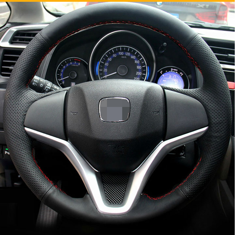 StBlack Artificial Leather Car steering Wheel Cover for <font><b>Honda</b></font> <font><b>Fit</b></font> City Jazz 2014 <font><b>2015</b></font> HRV HR-V <font><b>2016</b></font> image