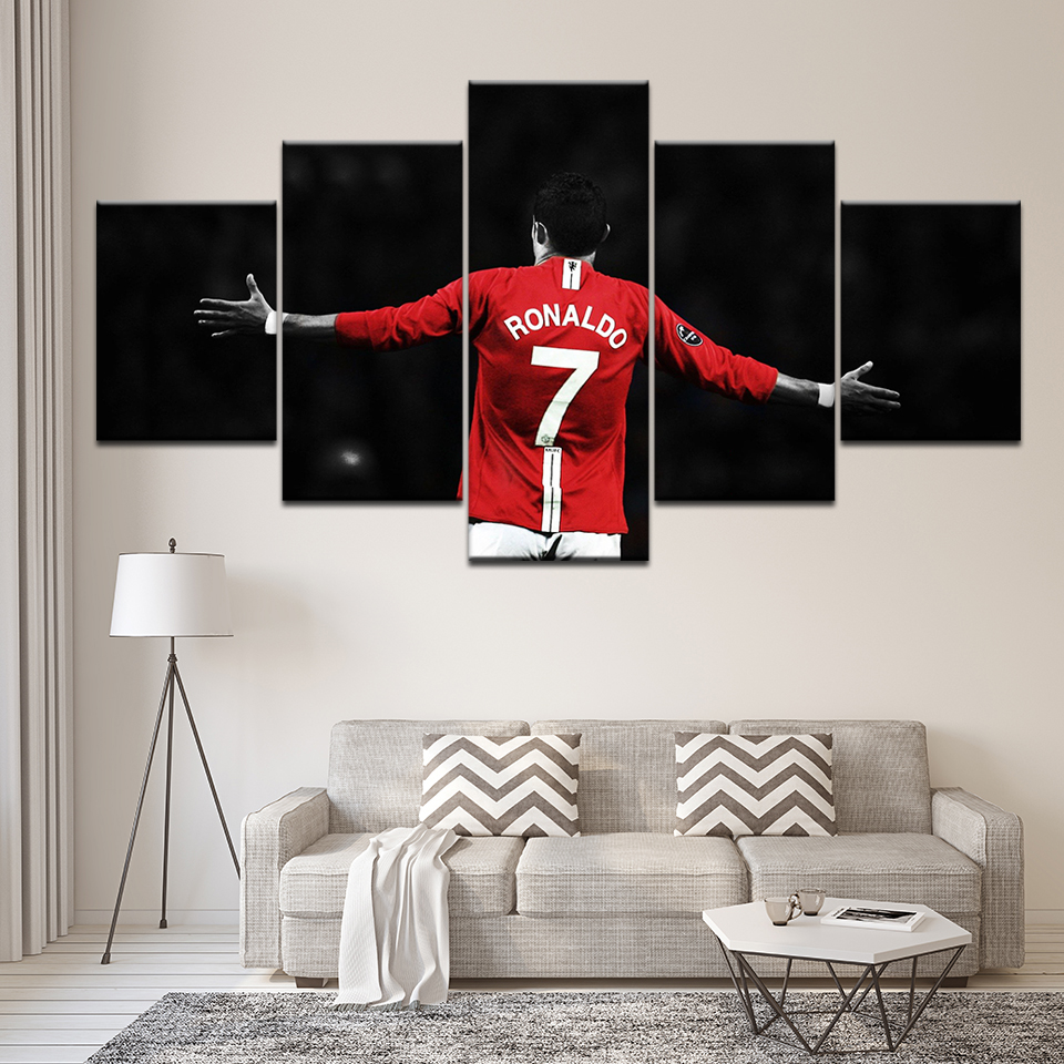 Wall Art Canvas Painting Modular Pictures For Modern Living Room Decor 5 Pieces Print Sports Cristiano Ronaldo Poster Frame
