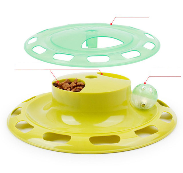 Pet Kitty Cat Toy Interactive Turntable Pet Toy Training Amusement Plate Crazy Ball Disk