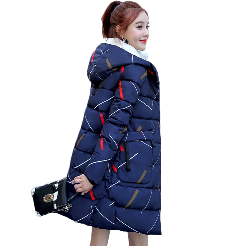 Winter Jacket Women Parka Coats 2018 New Fashion print Hooded Overcoat Thick Warm Cotton-padded jacket Lining Ladies S-3XL Y118