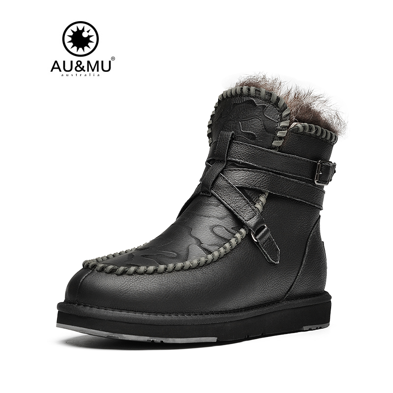2017 AUMU Australia Fur Flat Partent Leather Wool Lining Thick Platform Metal Buckle Strap Snow Winter Boots UG N380 2018 aumu australia breathable thick