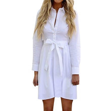 New Belt Button Opening Mini Dress Shirt Women's Casual Solid Long Sleeve Linen robe femme ete 2018 elegant women's clothing M3(China)