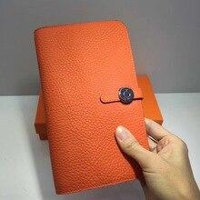 Kafunila real cowhide leather passport card holder women clutch