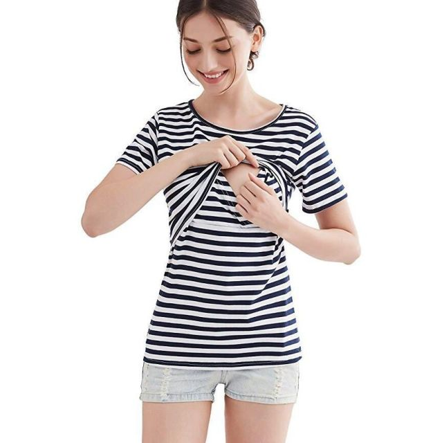 Plus Size Nursing Clothing Maternity Striped Tees Breastfeeding Tops ...