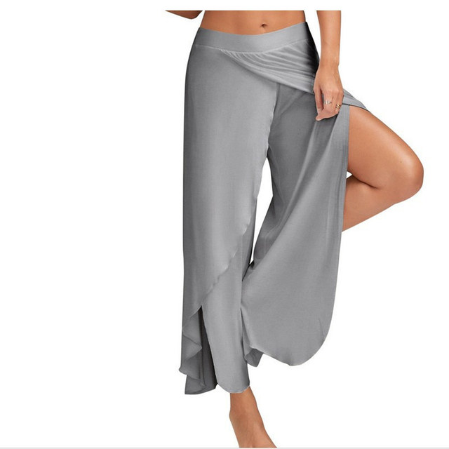 32f88fefb7 XC Sexy Half Exposed Fitness Gym Sport Running Pants Big Size Black White  Sport Trousers M-5XL Loose Wide Leg Yoga Pants Women