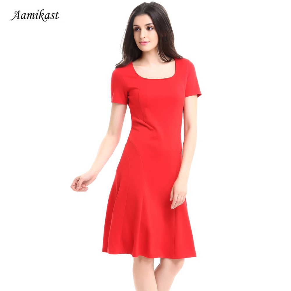 AAMIKAST New Fashion Summer Women Dresses 2018 Elegant Square Collar Pencil  Party Evening Busines Wear To 111d13e96e4a