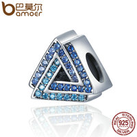BAMOER New Arrival 100 925 Sterling Silver Geometric Triangle Gradual Change Blue CZ Beads Fit Charm