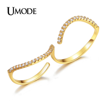 UMODE Brand Top Quality AAA+ Micro Round Cut Clear CZ Pave Gold Plated Double Finger Rings For Women Aneis Jewelry AUR0313A