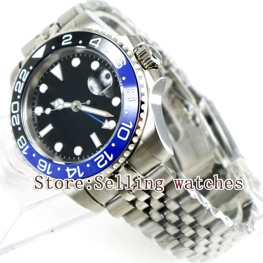 40mm Parnis Black Sterile Dial Blue Black Ceramic Bezel Jubilee Style Strap Blue GMT date window automatic mens watch