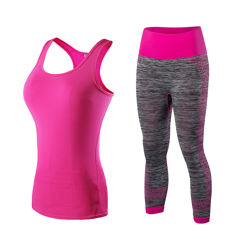 5194a16627c Yel caliente Logo Custom Running chaleco conjunto pantalones Sport Suit  Fitness medias Top trajes de Jogging para las mujeres Gym Tracksuit Yoga  ropa ...