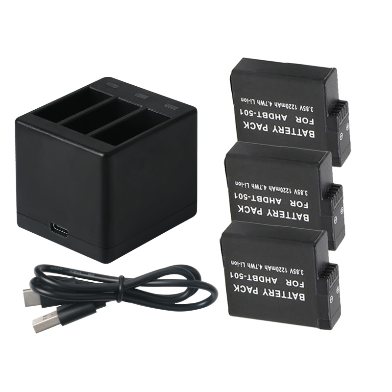 cheapest Mamen 3pcs Gopro 501 Go pro AHDBT 501 Digital Battery   Type-C Charger for GoPro Hero 5 6 7 Black Sports Action Camera Battery