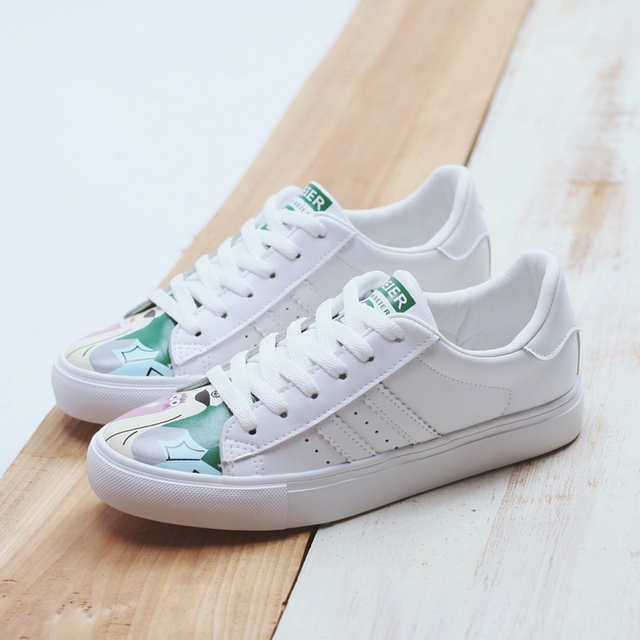 free shipping 2017 spring new fashion women's shoes casual sport breathable PU print shoes women casual shoes for women