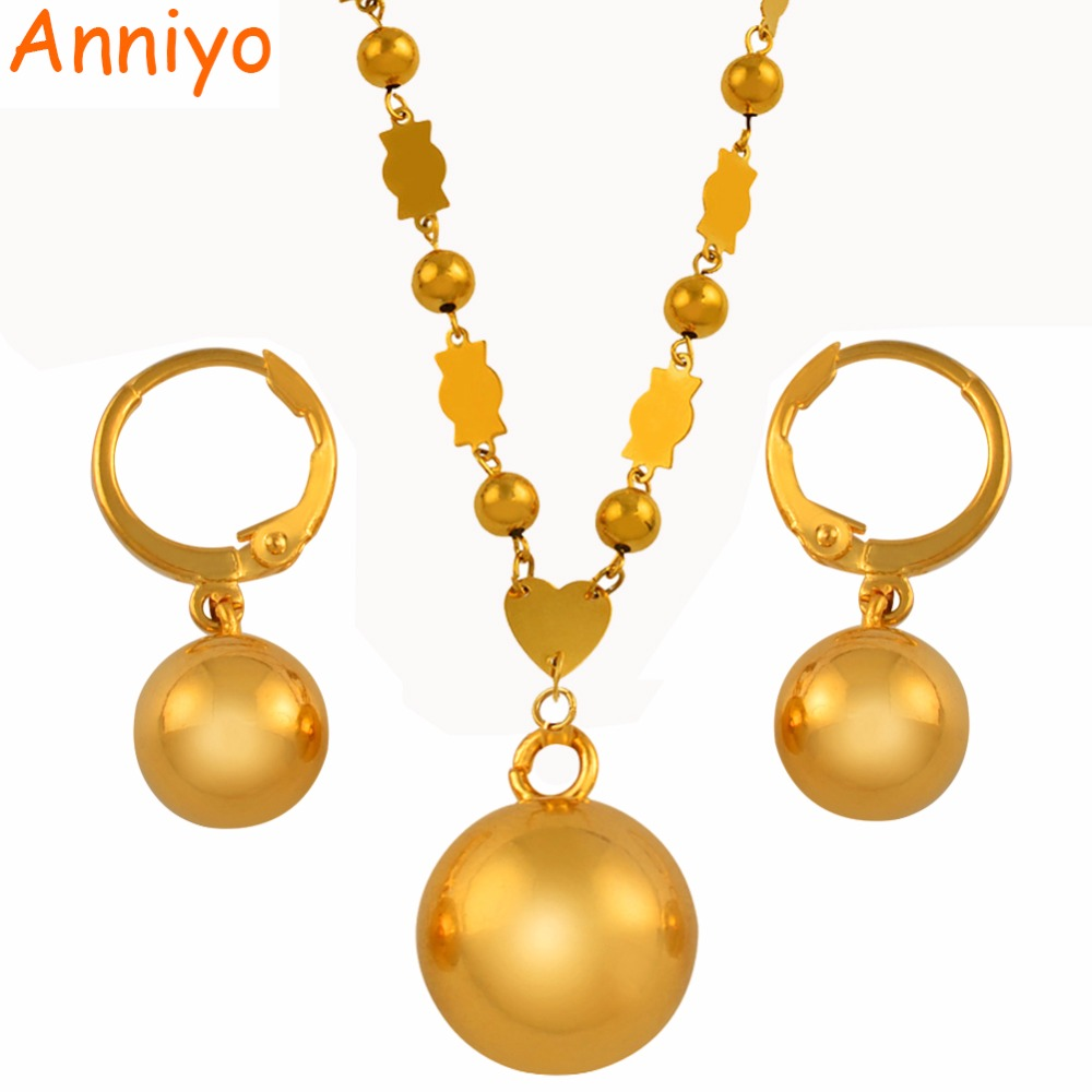 Anniyo Micronesia Jewelry sets Beads Ball Pendant Necklace Earrings Women Round Bead Chain Marshall Jewellery PNI Gifts #139506 rhinestone bead pendant necklace and earrings