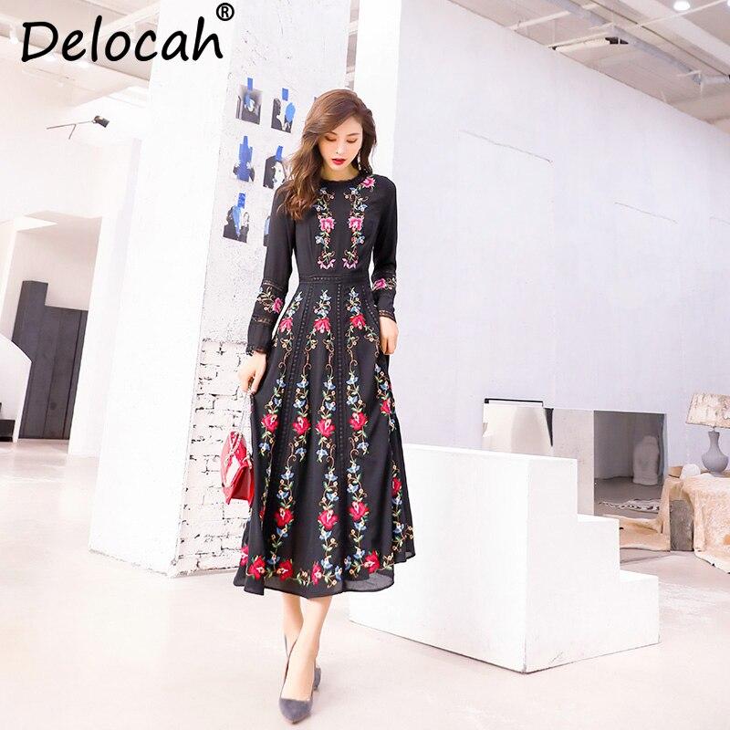 Delocah femmes printemps été robe piste styliste à manches longues magnifique évider broderie décontracté a-ligne robes minces