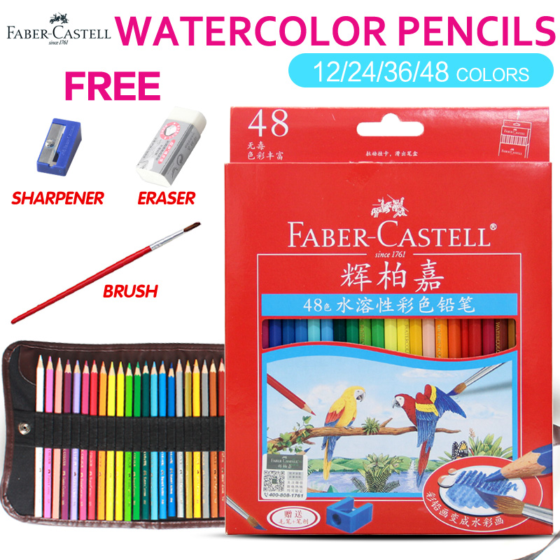 Faber castell 48 Colors Water Colored Pencil Painting Colorful Watercolor Pen Student Supplies Paint Pencils for Drawing Sketch scribble scribble pen faber castell 25 pieces of pencil sketch sketch article carbon combination 112969