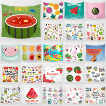 цена на Cool summer watermelon fruits lemon banana pineapple tapestry wall hanging tapestry home decoration wall tapestry large
