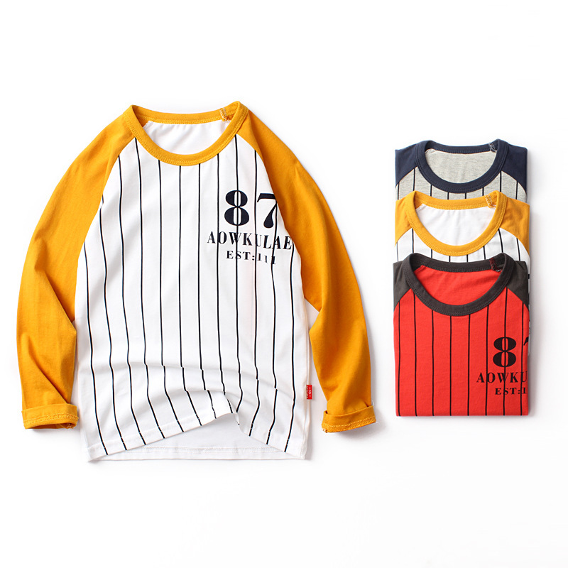 2019 Hot sale kids spring autumn clothing children t-shirts for boys long sleeve t shirts stripes pocket tag120~160