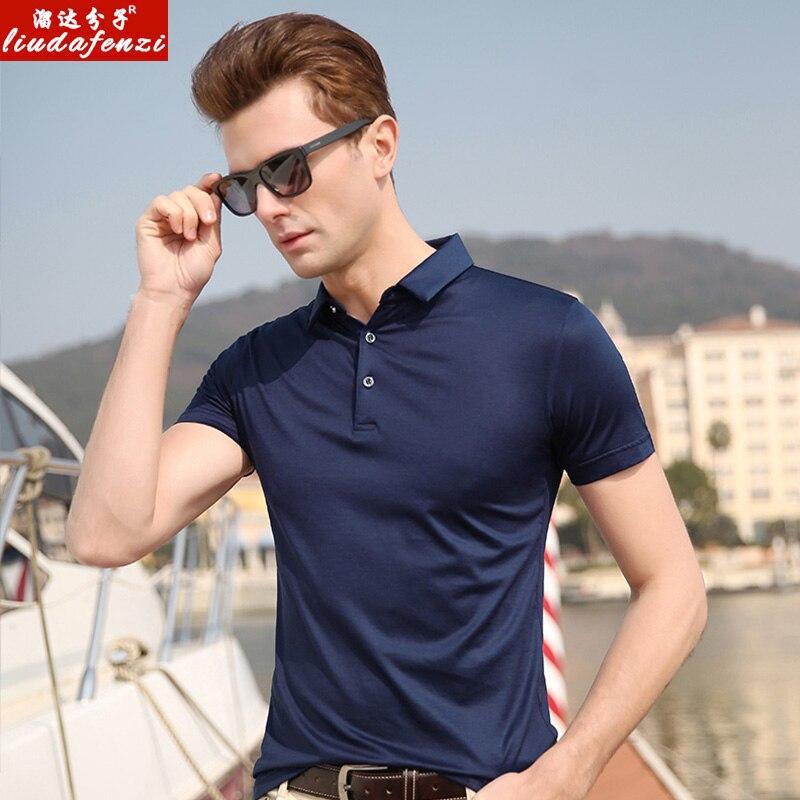 LIUDAFENZI Bombyx Mori short sleeve Men's summer middle-aged half-sleeve Men's Ice silk   polo   shirt jacket