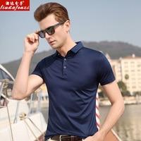 LIUDAFENZI Bombyx Mori short sleeve Men's summer middle aged half sleeve Men's Ice silk polo shirt jacket