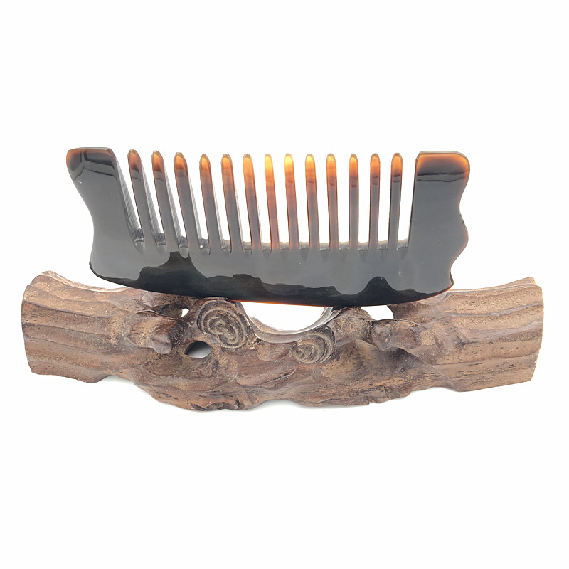 Real Buffalo Horn Wide-Tooth Hair Comb Comfortable Feel Portable Pocket Hairbrushes with Free Velvet Pouch L-268