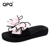 Women Slippers 2017 New Bowknot Non Slip Breathable Ladies Flat Heels Sandals Woman Light Casual Summer