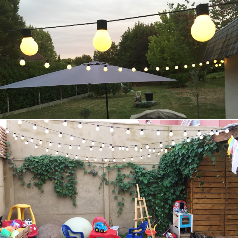 Fairy 10m 5cm big ball LED string lights Garland christmas lights outdoor lighting new year wedding decoration party light pair of trendy rhinestone oval leaf earrings for women page 7