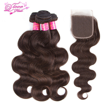 Queen Love Hair Pre colored Body Wave 3 Bundles Human Hair Bundles With Closure 2 Color