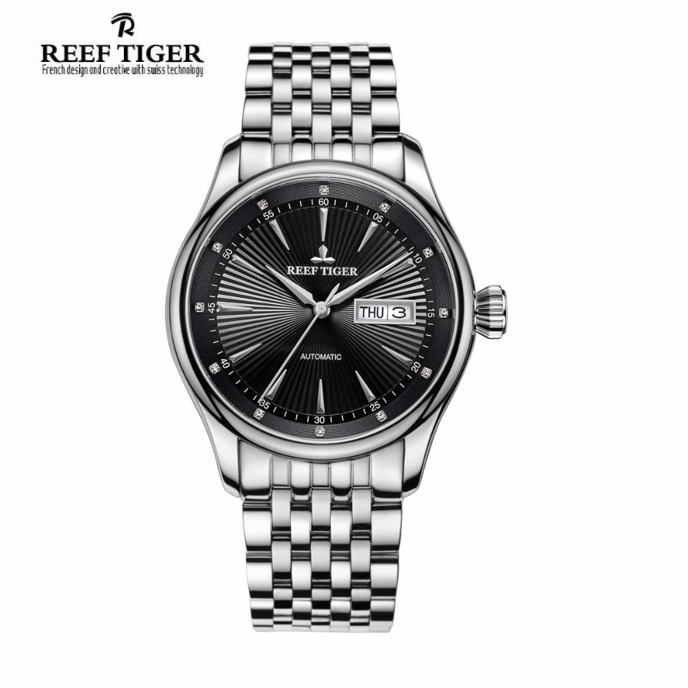 Reef Tiger/RT Dress Watch Men Date Day Black Dial Analog Automatic Watches Full Stainless Steel Watch RGA8232 relojes full stainless steel men s sprot watch black and white face vx42 movement