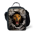 Fashion Tiger Wolf Zoo Lunch Bags Warmmers Meal Package Black Insulated Food Lunch Bags lunchbox For Kids Retail