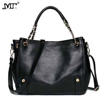 MJ Women Genuine Leather Shoulder Bag Female Chain Handbag Real Cow Leather Tote Bag 2018 New Large Cowhide Messenger Bags