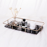 New Cosmetics Storage Tray Bathroom Dressing Table Skin Care Products Metal Storage Tray Rack
