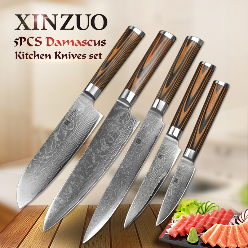 5 pcs kitchen <font><b>knife</b></font> <font><b>set</b></font> 73 layer Japanese VG10 Damascus steel kitchen <font><b>knife</b></font> cleaver chef utility <font><b>knife</b></font> wood handle free shipping