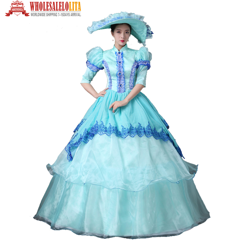 18th Century Sky Blue Lace Vampire Masquerade Ball Dress Civil War Southern Belle Ball Gown Costumes
