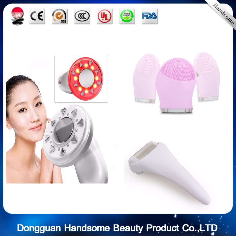 RF Cavitation Ultrasonic LED Body Slimming Massager Fat Burner  Massage Beauty Device+1pc ice roller +1pcSilicone wash brush thin leg brush handle push fat body five lines of main and collateral channels of roller brush push lipid massager