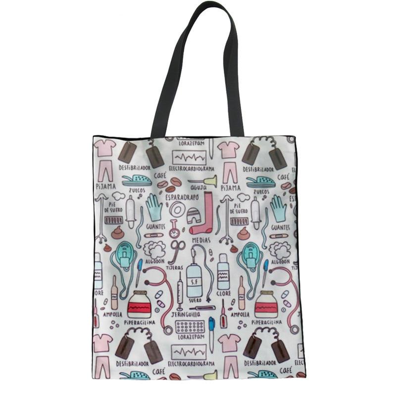 ThiKin Eco-friendly Canvas Shopping Bag Casual Reusable Folded Shoulder Bag Ladies Women Nurse Print Linen Laige Tote Bags